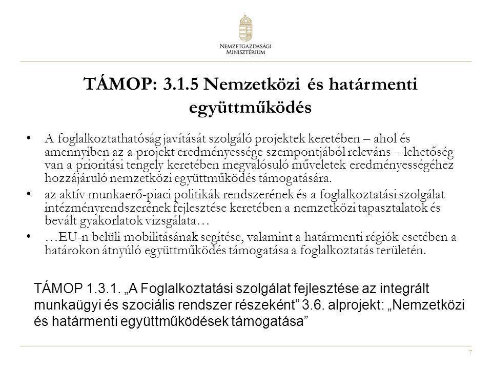 TÁMOP: 3.1.5 Nemzetközi és határmenti együttműködés