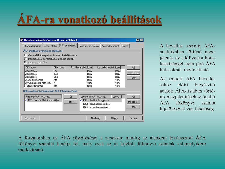 ÁFA-ra vonatkozó beállítások