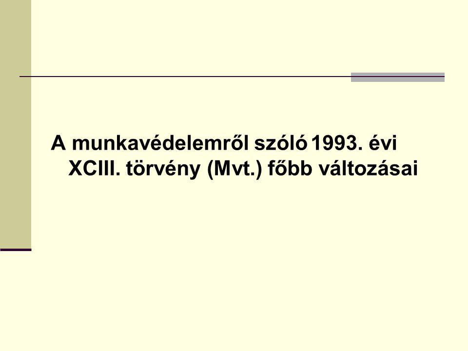 A munkavédelemről szóló 1993. évi XCIII. törvény (Mvt