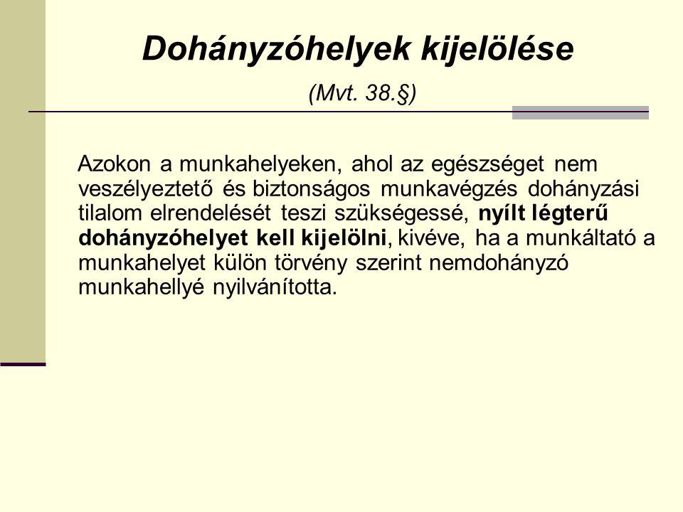 Dohányzóhelyek kijelölése (Mvt. 38.§)