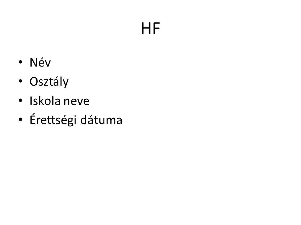 HF Név Osztály Iskola neve Érettségi dátuma