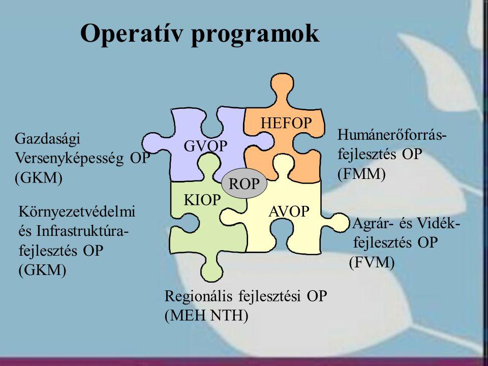 Operatív programok HEFOP Humánerőforrás- fejlesztés OP (FMM) Gazdasági