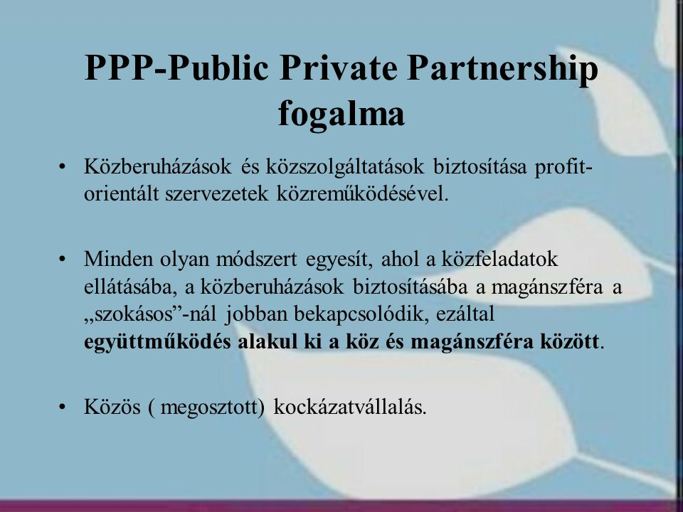 PPP-Public Private Partnership fogalma