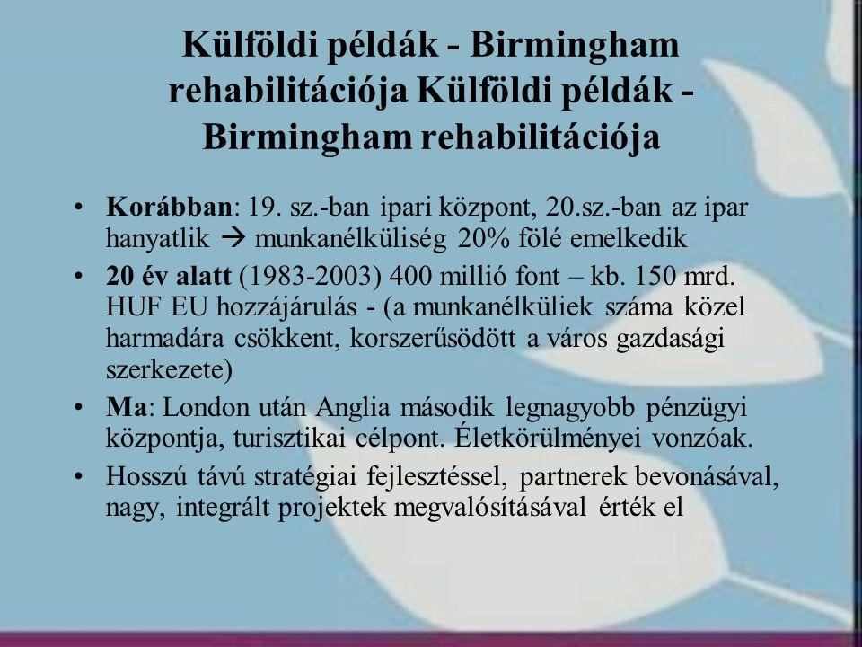 Külföldi példák - Birmingham rehabilitációja Külföldi példák - Birmingham rehabilitációja