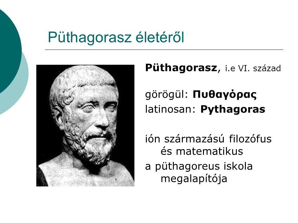 Püthagorasz életéről Püthagorasz, i.e VI. század görögül: Πυθαγόρας