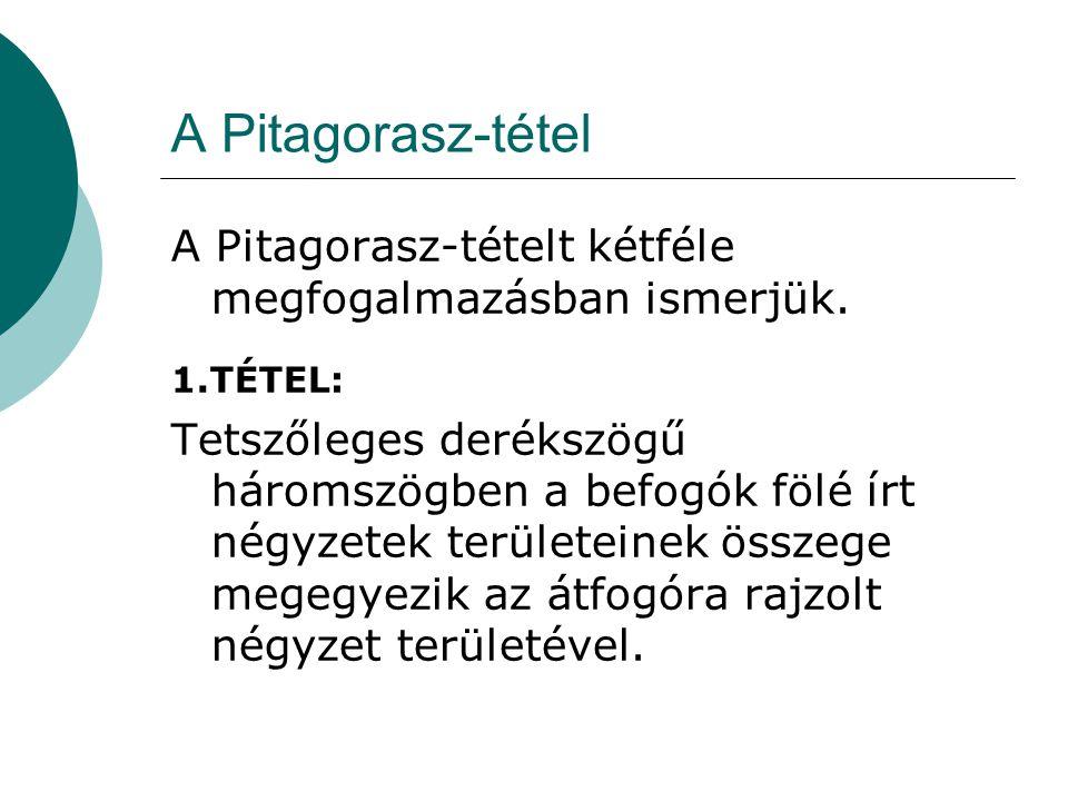 A Pitagorasz-tétel A Pitagorasz-tételt kétféle megfogalmazásban ismerjük. 1.TÉTEL: