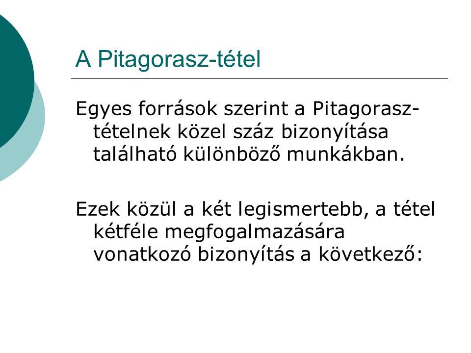 A Pitagorasz-tétel Egyes források szerint a Pitagorasz-tételnek közel száz bizonyítása található különböző munkákban.
