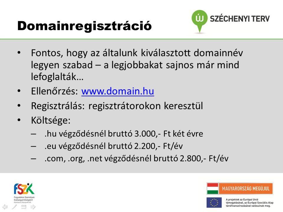 Domainregisztráció Fontos, hogy az általunk kiválasztott domainnév legyen szabad – a legjobbakat sajnos már mind lefoglalták…
