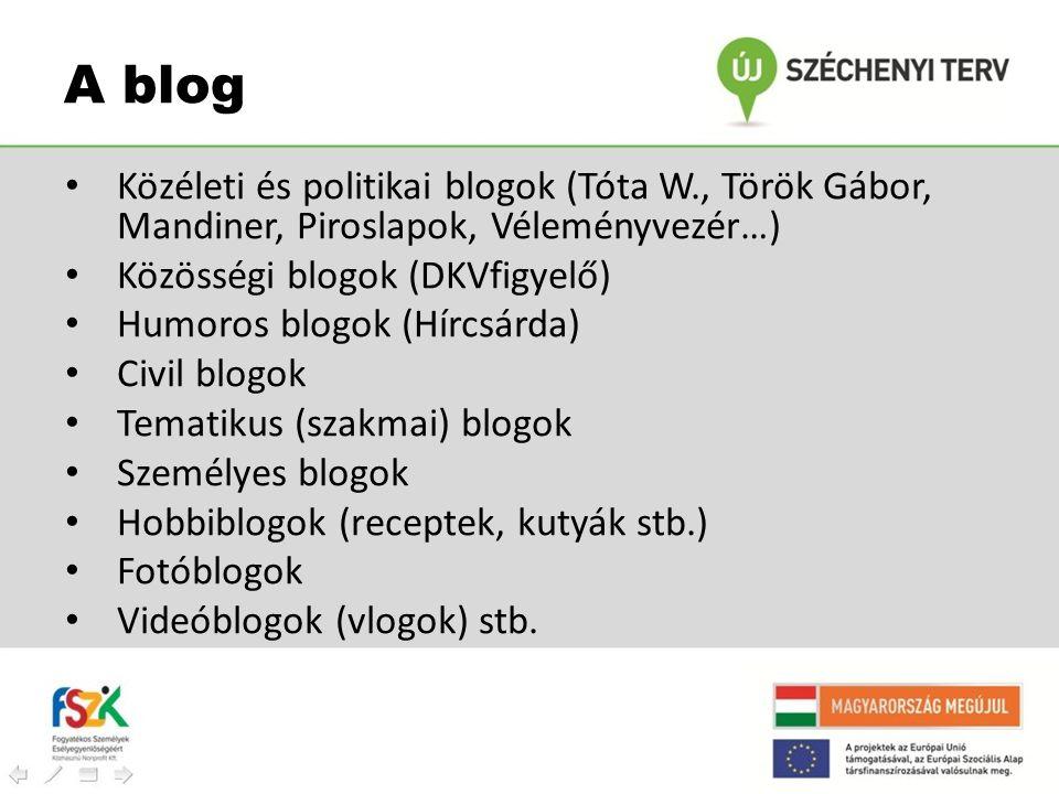 A blog Közéleti és politikai blogok (Tóta W., Török Gábor, Mandiner, Piroslapok, Véleményvezér…) Közösségi blogok (DKVfigyelő)