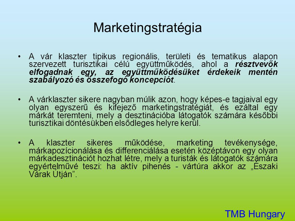 Marketingstratégia TMB Hungary Kft.