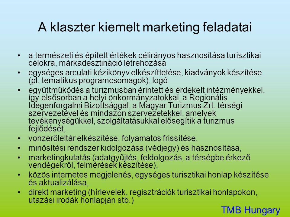 A klaszter kiemelt marketing feladatai