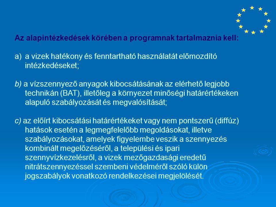 Az alapintézkedések körében a programnak tartalmaznia kell: