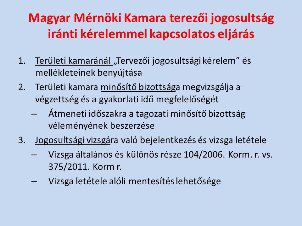 Magyar Mérnöki Kamara terezői jogosultság iránti kérelemmel kapcsolatos eljárás