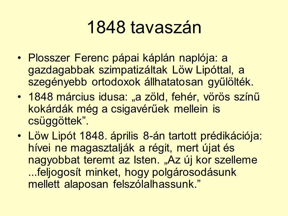 1848 tavaszán Plosszer Ferenc pápai káplán naplója: a gazdagabbak szimpatizáltak Löw Lipóttal, a szegényebb ortodoxok állhatatosan gyűlölték.