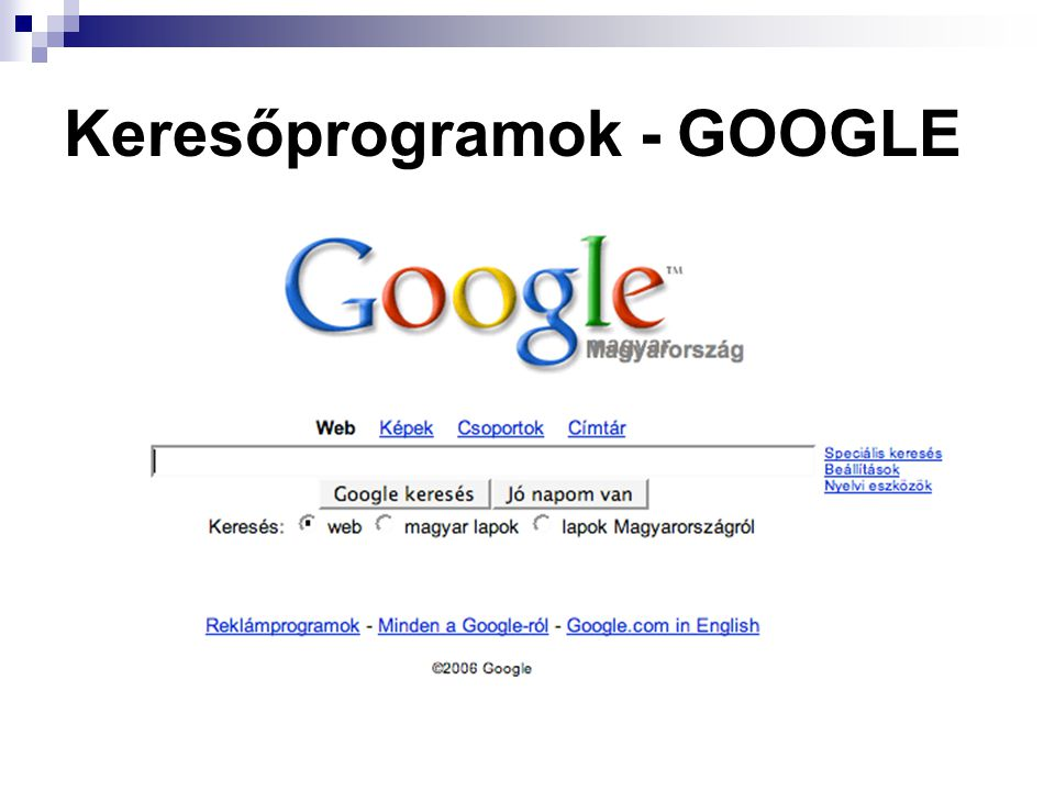 Keresőprogramok - GOOGLE
