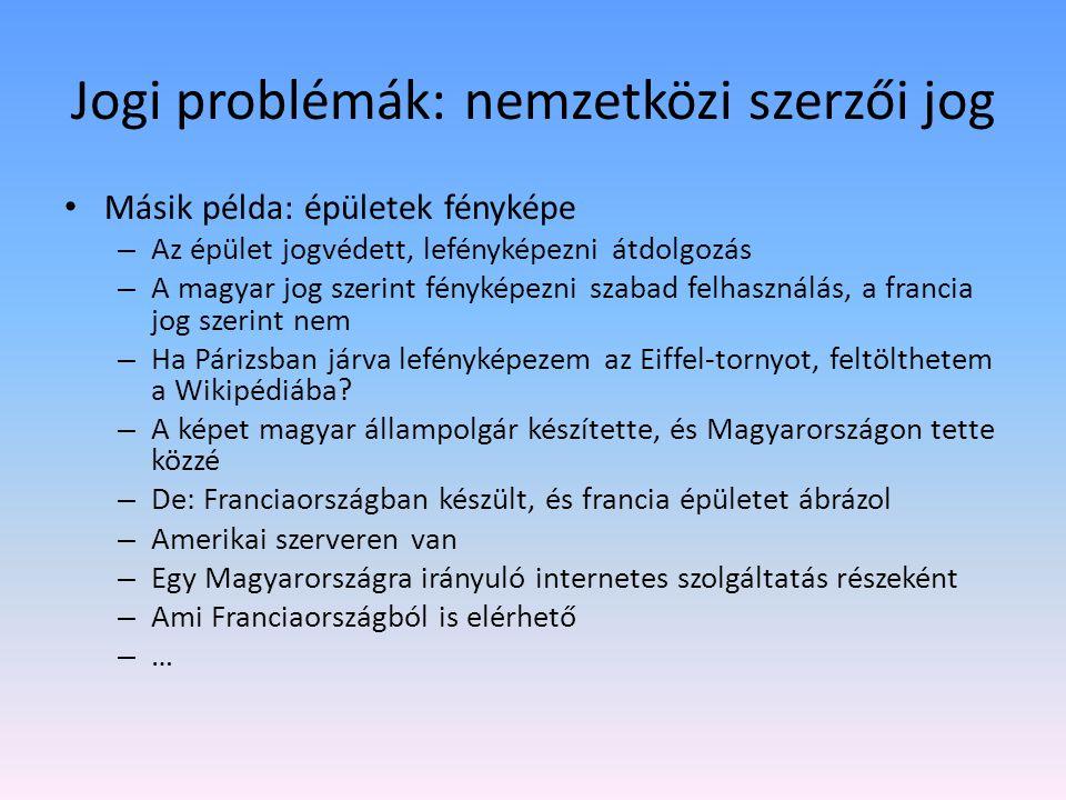 Jogi problémák: nemzetközi szerzői jog