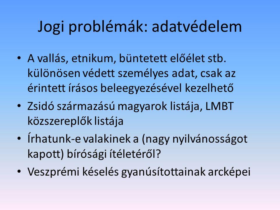 Jogi problémák: adatvédelem