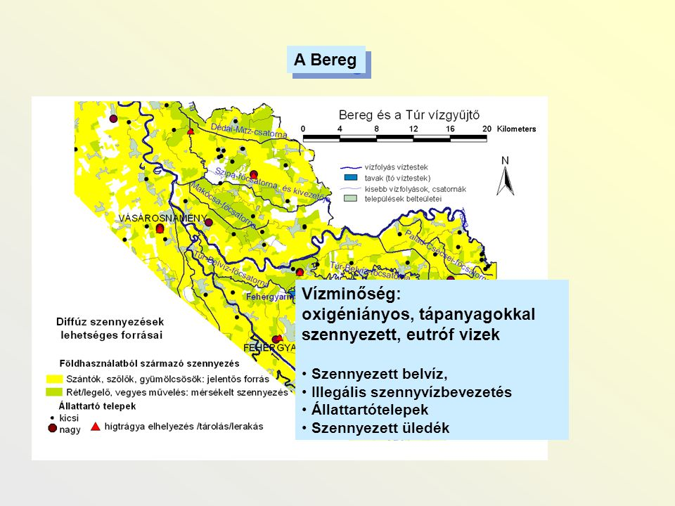 oxigéniányos, tápanyagokkal szennyezett, eutróf vizek