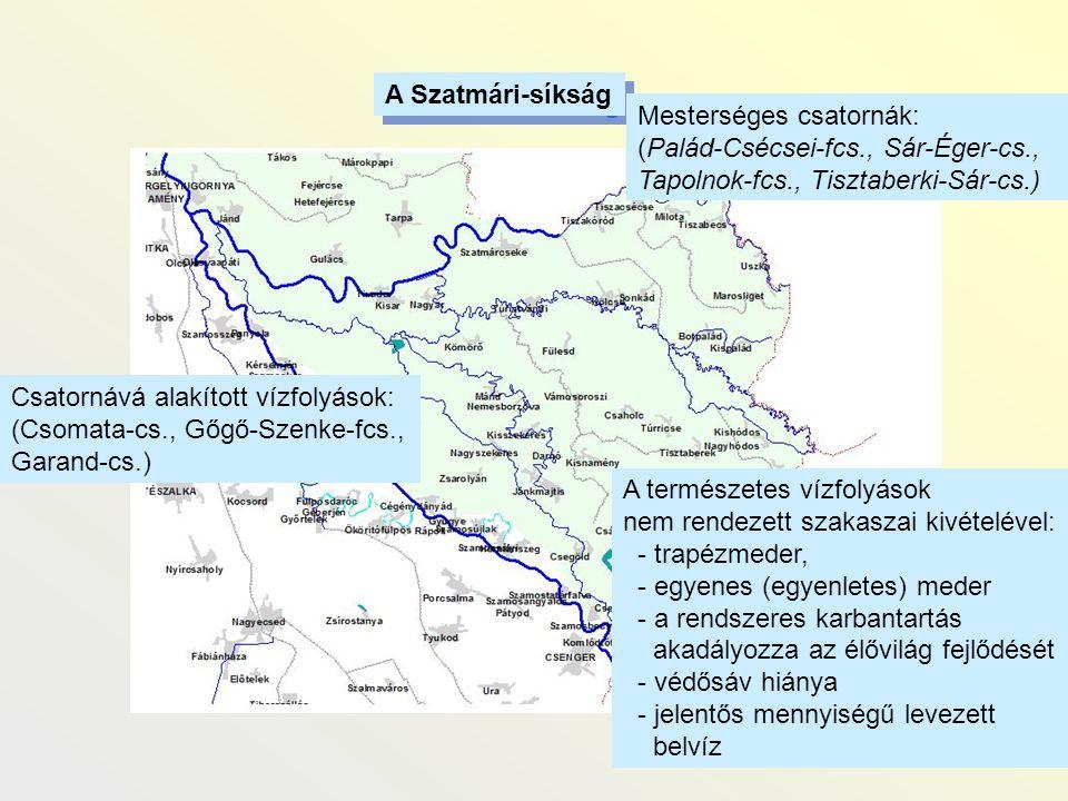A Szatmári-síkság Mesterséges csatornák: (Palád-Csécsei-fcs., Sár-Éger-cs., Tapolnok-fcs., Tisztaberki-Sár-cs.)