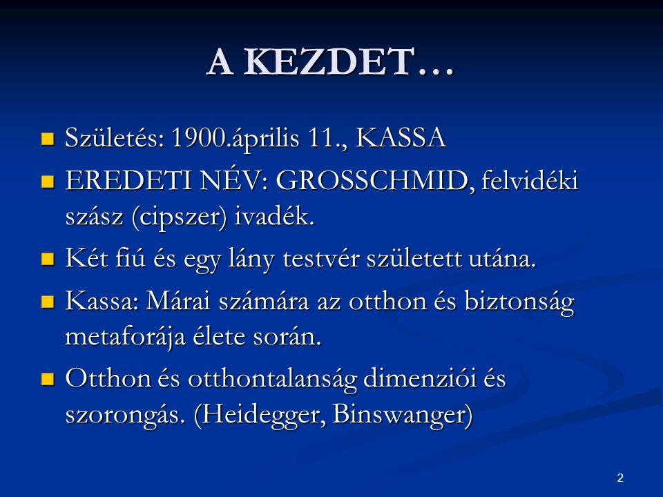 A KEZDET… Születés: 1900.április 11., KASSA
