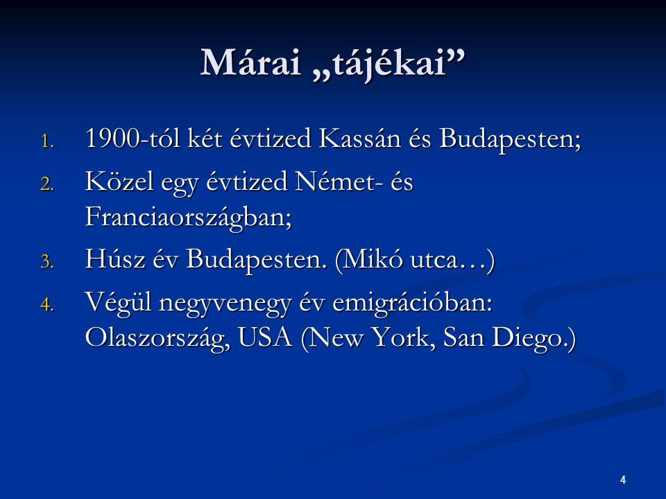 """Márai """"tájékai 1900-tól két évtized Kassán és Budapesten;"""