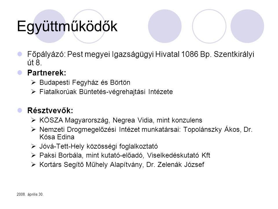 Együttműködők Főpályázó: Pest megyei Igazságügyi Hivatal 1086 Bp. Szentkirályi út 8. Partnerek: Budapesti Fegyház és Börtön.