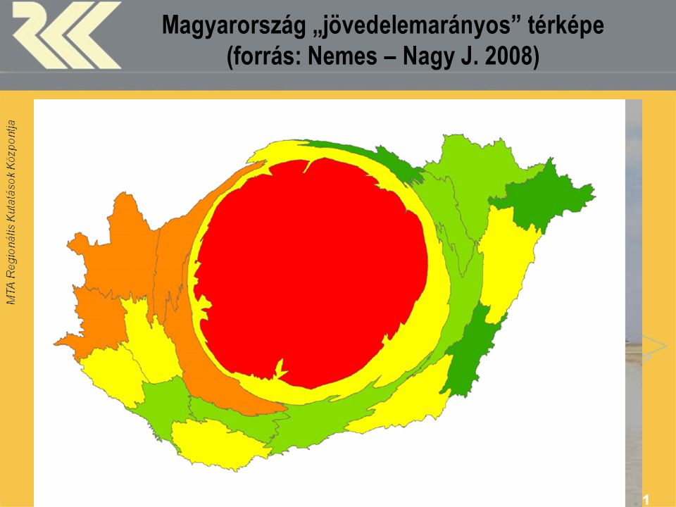 """Magyarország """"jövedelemarányos térképe (forrás: Nemes – Nagy J. 2008)"""