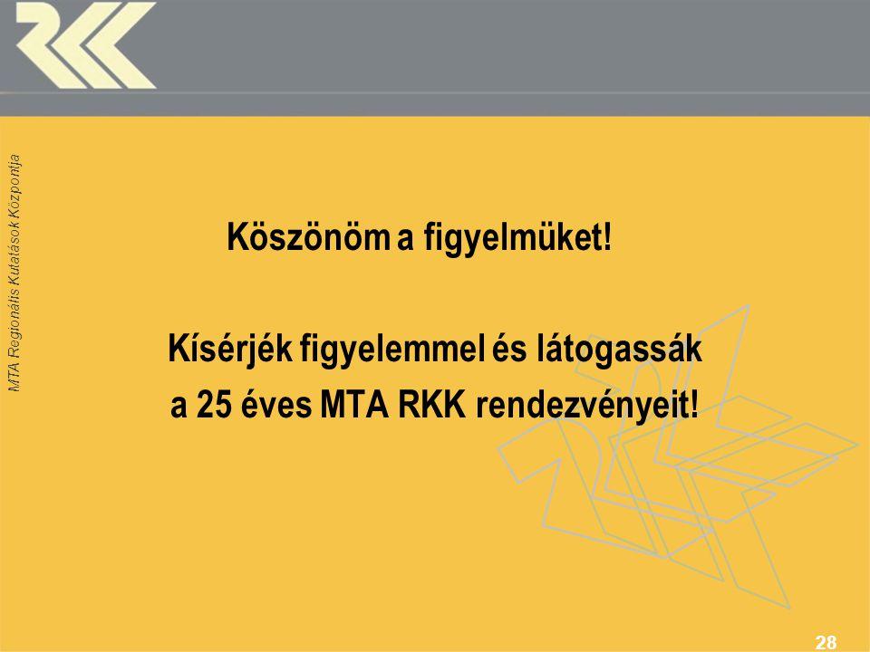 Kísérjék figyelemmel és látogassák a 25 éves MTA RKK rendezvényeit!