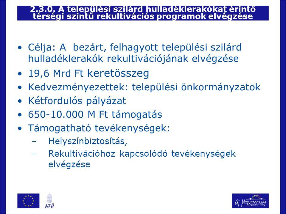 Kedvezményezettek: települési önkormányzatok Kétfordulós pályázat