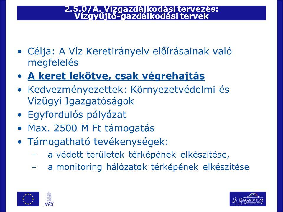 2.5.0/A. Vízgazdálkodási tervezés: Vízgyűjtő-gazdálkodási tervek