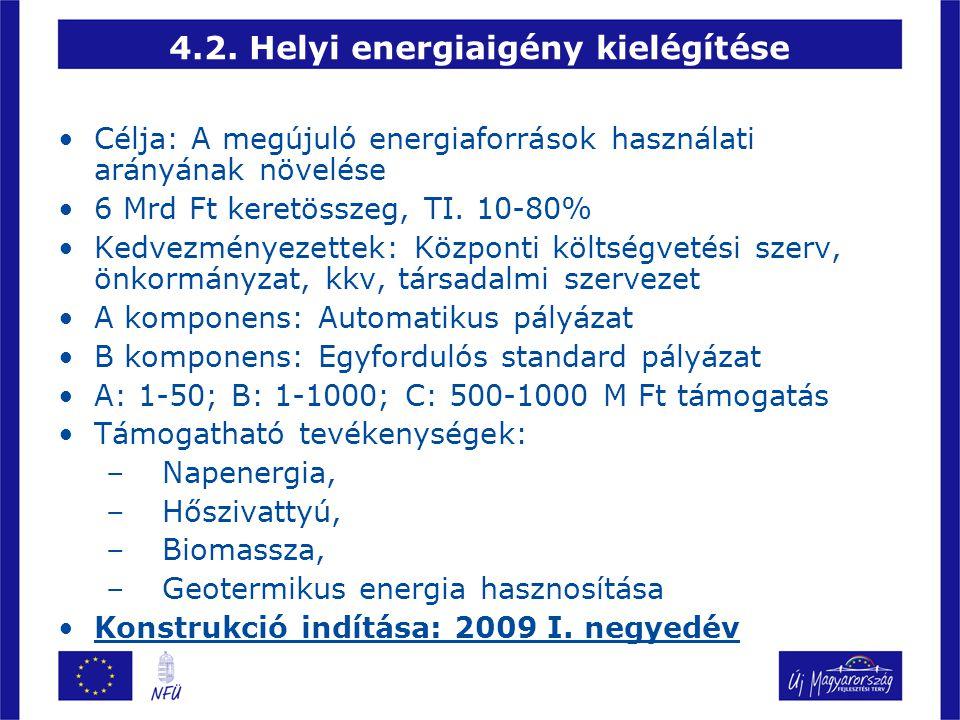 4.2. Helyi energiaigény kielégítése