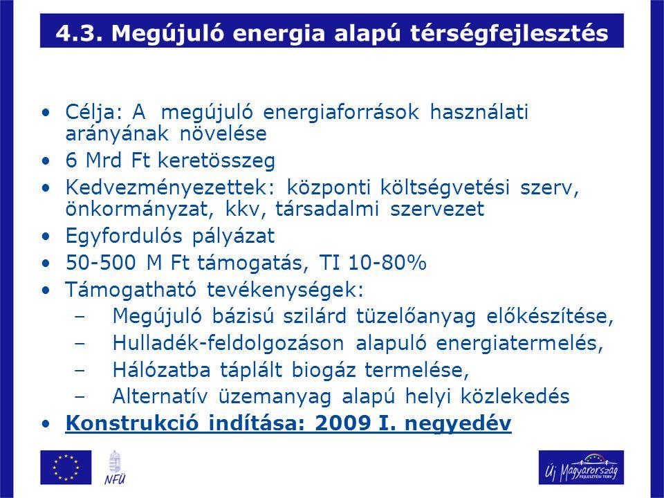 4.3. Megújuló energia alapú térségfejlesztés