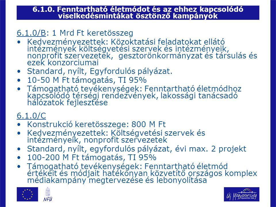 Standard, nyílt, Egyfordulós pályázat. 10-50 M Ft támogatás, TI 95%