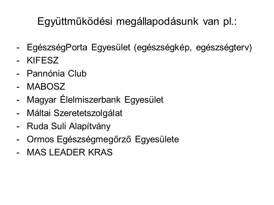 Együttműködési megállapodásunk van pl.: