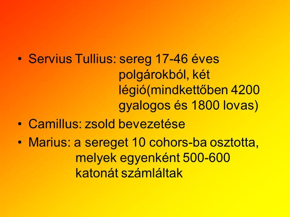 Servius Tullius: sereg 17-46 éves. polgárokból, két