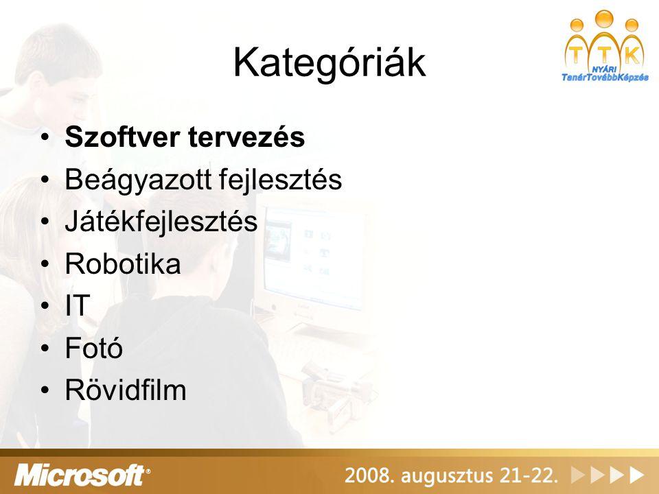Kategóriák Szoftver tervezés Beágyazott fejlesztés Játékfejlesztés