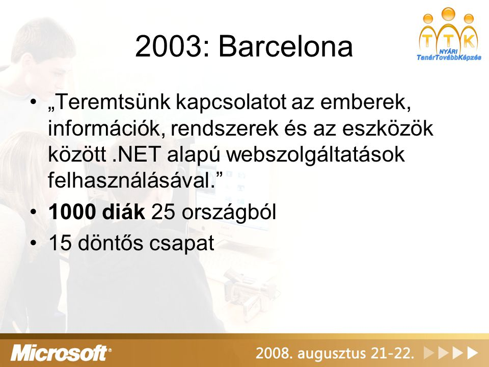 """2003: Barcelona """"Teremtsünk kapcsolatot az emberek, információk, rendszerek és az eszközök között .NET alapú webszolgáltatások felhasználásával."""