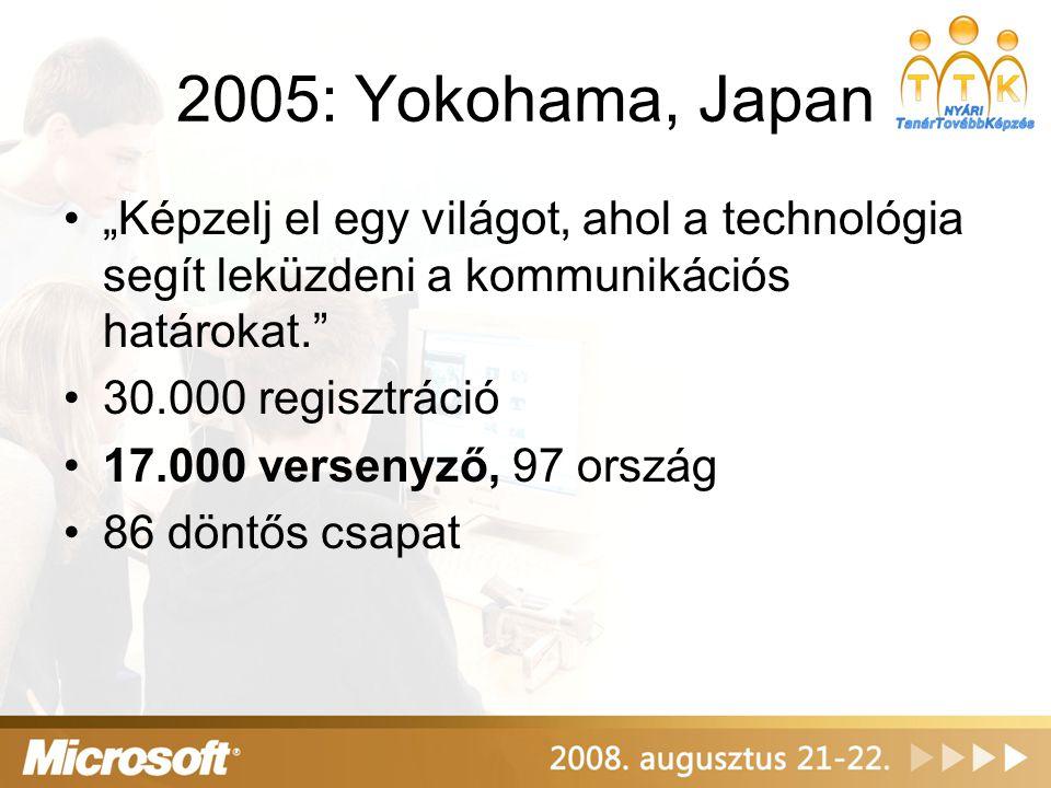 """2005: Yokohama, Japan """"Képzelj el egy világot, ahol a technológia segít leküzdeni a kommunikációs határokat."""