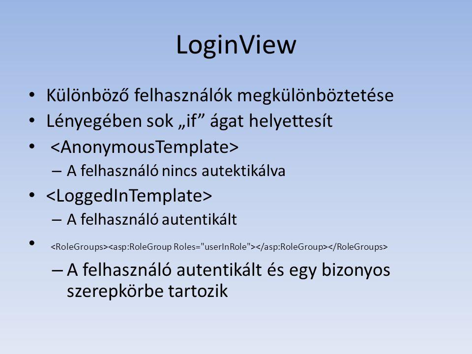 LoginView Különböző felhasználók megkülönböztetése