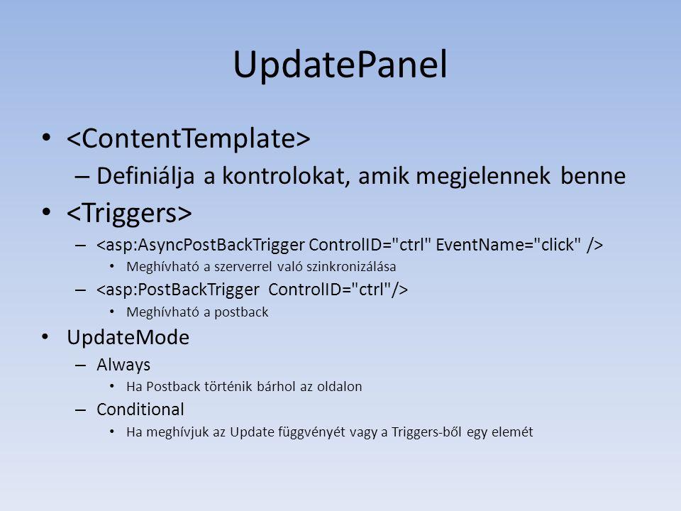 UpdatePanel <ContentTemplate> <Triggers>