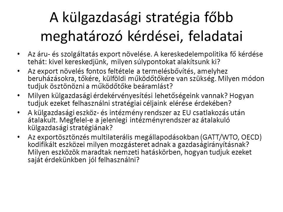 A külgazdasági stratégia főbb meghatározó kérdései, feladatai