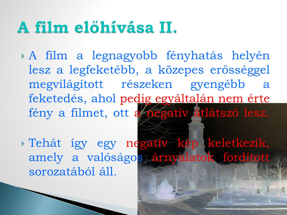 A film előhívása II.