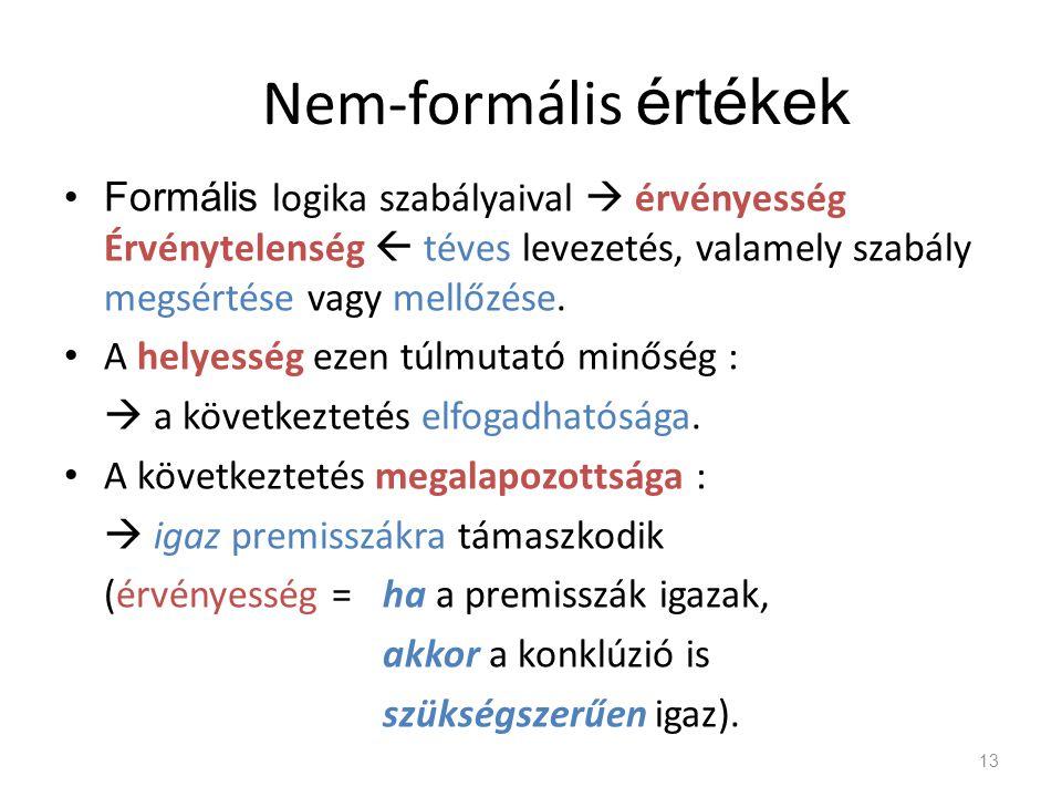 Nem-formális értékek Formális logika szabályaival  érvényesség Érvénytelenség  téves levezetés, valamely szabály megsértése vagy mellőzése.