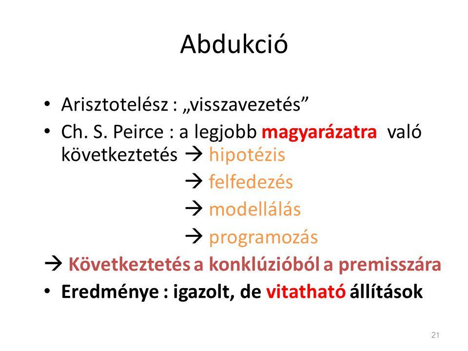 """Abdukció Arisztotelész : """"visszavezetés"""