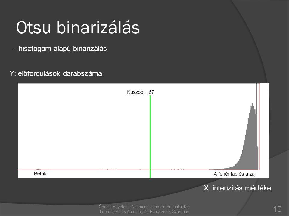 Otsu binarizálás - hisztogam alapú binarizálás