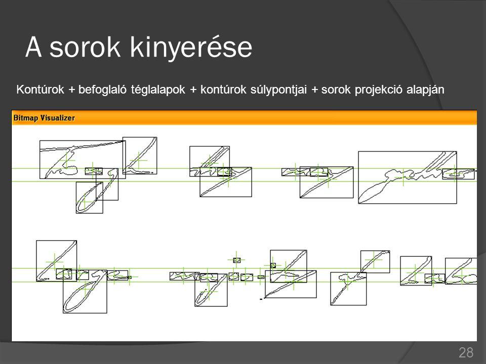 A sorok kinyerése Kontúrok + befoglaló téglalapok + kontúrok súlypontjai + sorok projekció alapján