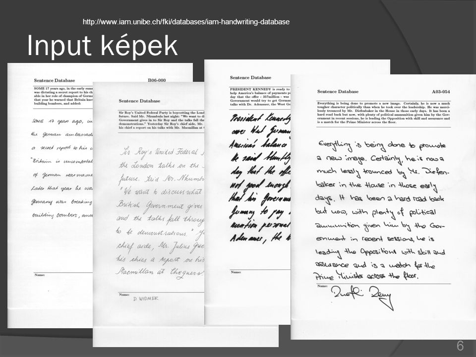 Input képek http://www.iam.unibe.ch/fki/databases/iam-handwriting-database