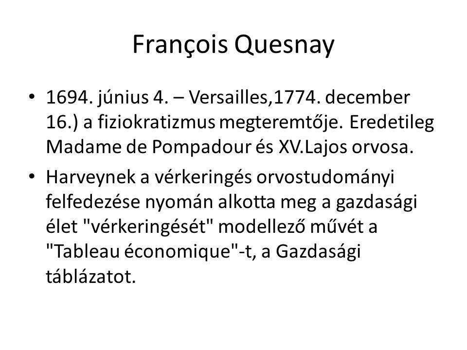 François Quesnay 1694. június 4. – Versailles,1774. december 16.) a fiziokratizmus megteremtője. Eredetileg Madame de Pompadour és XV.Lajos orvosa.