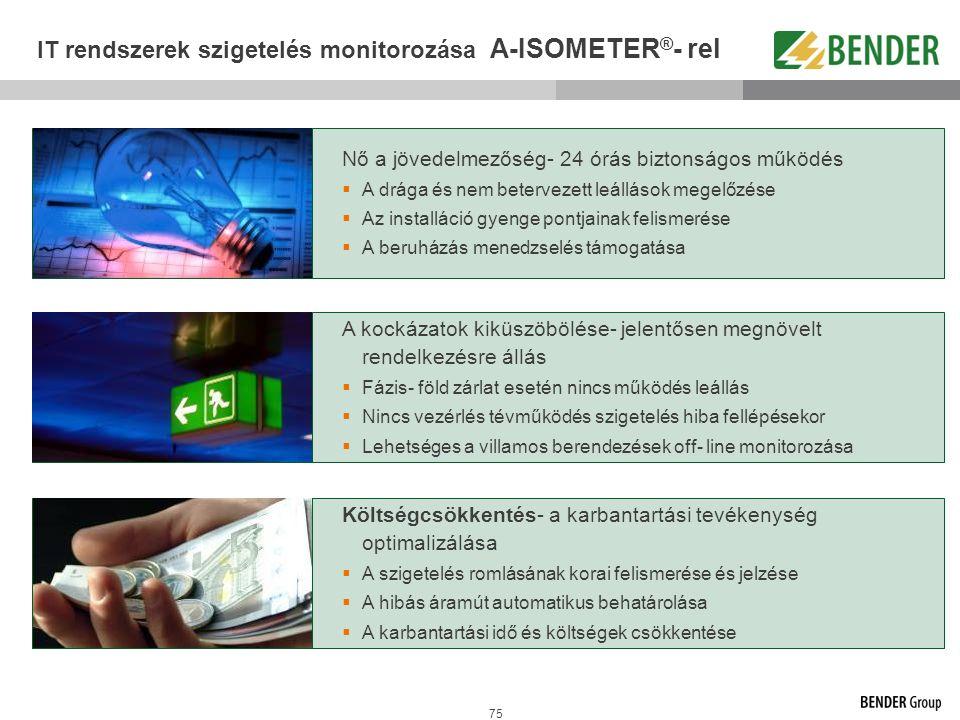 IT rendszerek szigetelés monitorozása A-ISOMETER®- rel