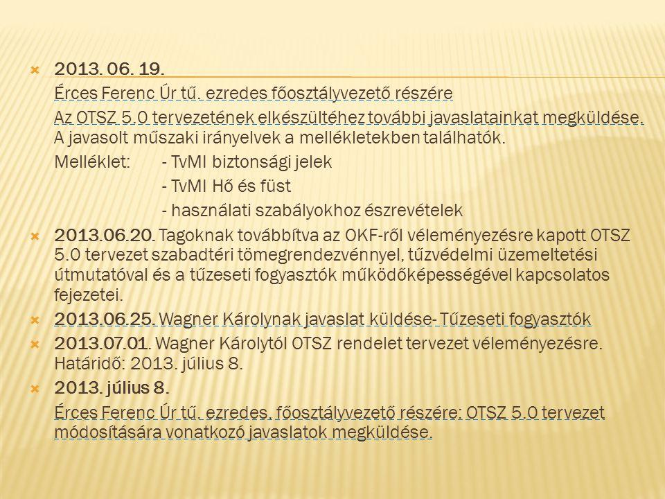 2013. 06. 19. Érces Ferenc Úr tű. ezredes főosztályvezető részére.